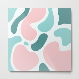 Retro Mint Green and Pink Blobs Over Pale Grey - Abstract Shapes - Funky Art - Matisse Metal Print
