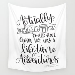 Lifetime of Adventures - Alice in Wonderland Quote Wall Tapestry