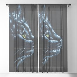 Black Cat Portrait White Charcoal Art Sheer Curtain