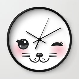 Kawaii funny cat with pink cheeks and winking eyes on white background Wall Clock