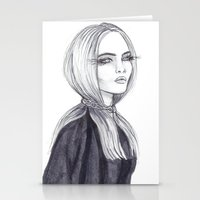 cara delevingne Stationery Cards featuring Cara Delevingne by Asquared2Art