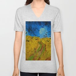 Wheatfield with Crows Oil Painting by Vincent van Gogh Unisex V-Neck