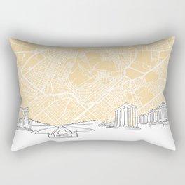 Athens Greece Skyline Map Rectangular Pillow