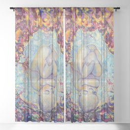 New life birth, baby in the womb Sheer Curtain