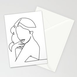Woman Line Stationery Cards