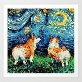 Corgi in Starry Night Art Print
