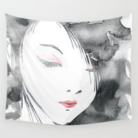 geisha Wall Tapestries featuring Geisha by Nxolab
