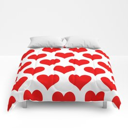 Holidaze Love Hearts Red Comforters