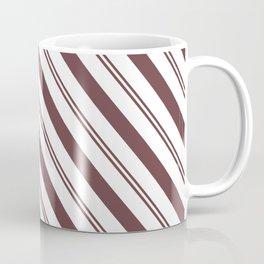 Pantone Red Pear and White Stripes Angled Lines Coffee Mug
