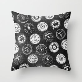Dark Vintage Motorcycle Speedometers Throw Pillow