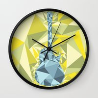 guitar Wall Clocks featuring GUITAR by petitscoquins