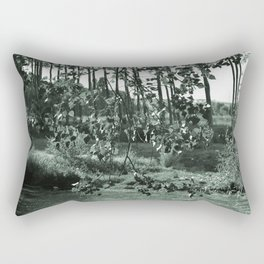 photograph of river landscape and plants in the field in soft green color for clothes, furniture, gi Rectangular Pillow
