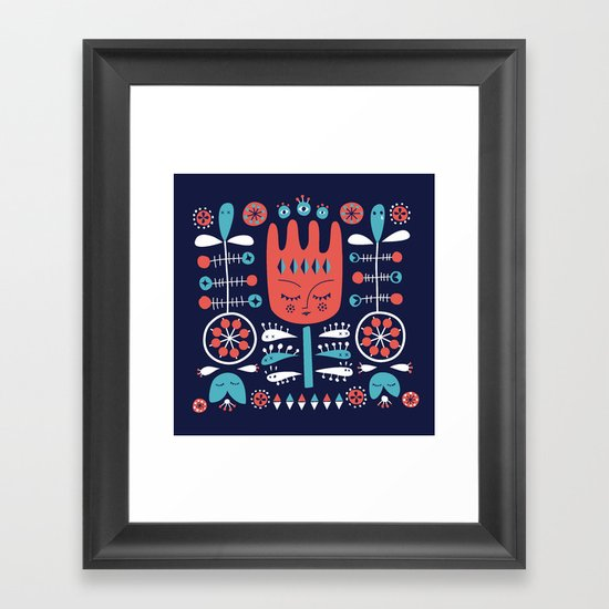 Folksy - Midnight blue Framed Art Print