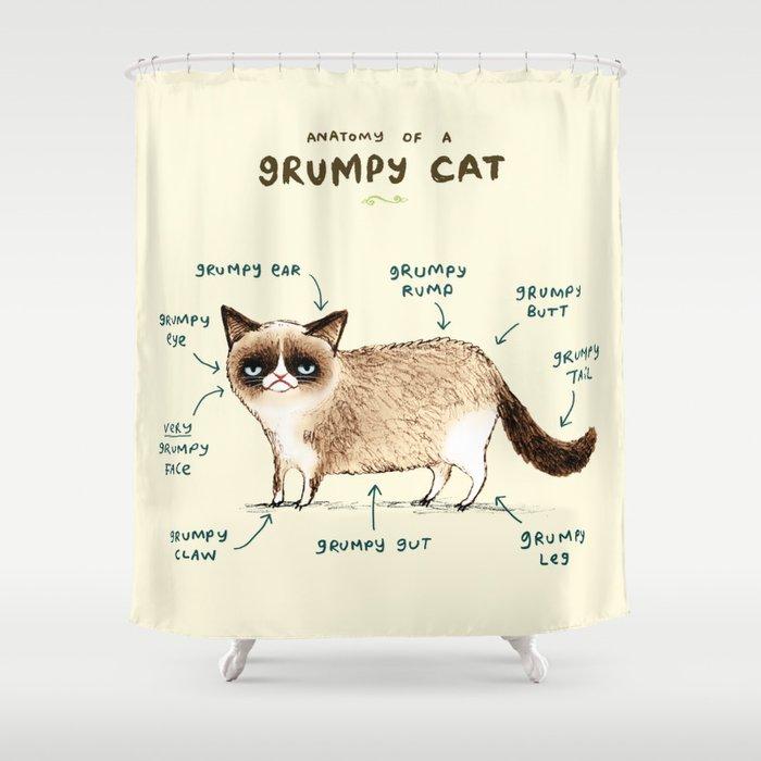 Anatomy of a Grumpy Kitty Shower Curtain by sophiecorrigan | Society6