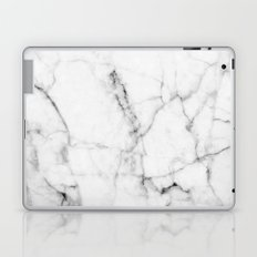 Pure White Real Marble Dark Grain All Over Laptop & iPad Skin
