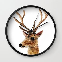 deer watercolor painting Wall Clock