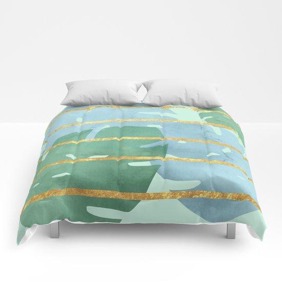 Leaves Pattern Golden Stripes Comforters