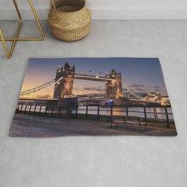 Historic Tower Bridge Thames River London Capital City England United Kingdom Romantic Sunset UHD Rug