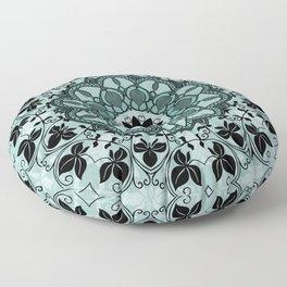Blue & Black Floral Design Floor Pillow