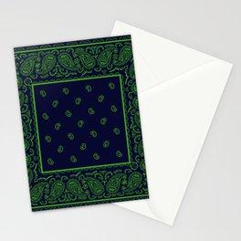 Navy Blue and Green Bandana Stationery Cards