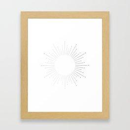 Sunburst Moonlight Silver on White Framed Art Print