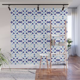 Symmetric patterns 141 Dark and light blue Wall Mural