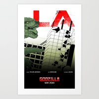 movie posters Art Prints featuring Godzilla Triptych C (03 of 03 collectible movie posters)  by Jeremy Gonzalez
