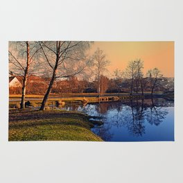 Winter mood on the river IV   waterscape photography Rug