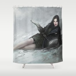 Gunslinger - Badass girl with gun in the snow Shower Curtain