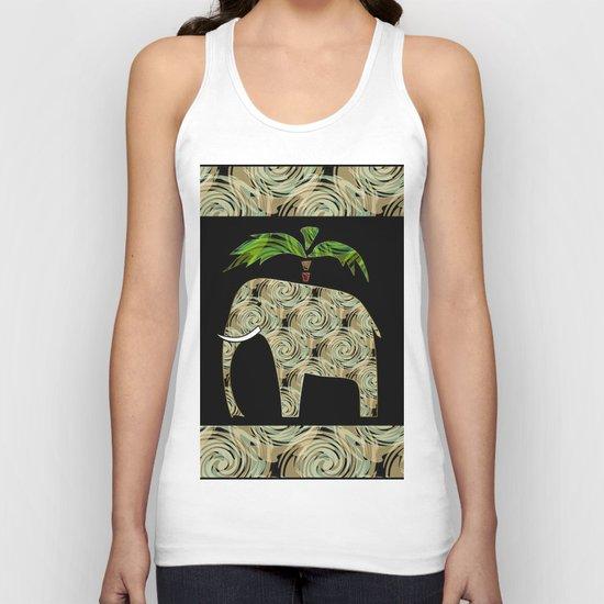 Elephant under a palm tree . Unisex Tank Top