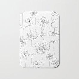 Botanical illustration drawing - Botanicals White Bath Mat