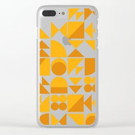 Mid Century Shape Art in Mustard Yellow Clear iPhone Case