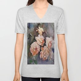 Ivory Roses Watercolor Tender Bouqet Unisex V-Neck