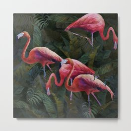 flamingo in the rainforest Metal Print