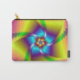 Whirligig in Yellow Blue and Green Carry-All Pouch