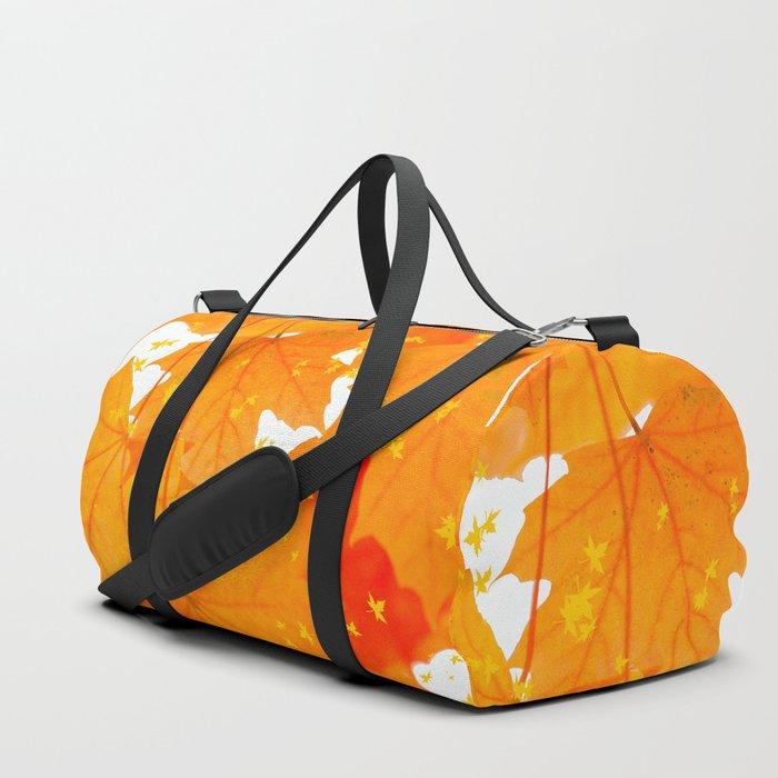 Fall Orange Maple Leaves On A White Background #decor #buyart #society6 Duffle Bag