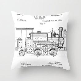 Vintage Patent Print 1886 Locomotive Steam Train Black Design Throw Pillow