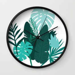 Trendy Flowers & Leaves Graphic Art Designs Wall Clock