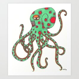 Zombie Octopus  Art Print