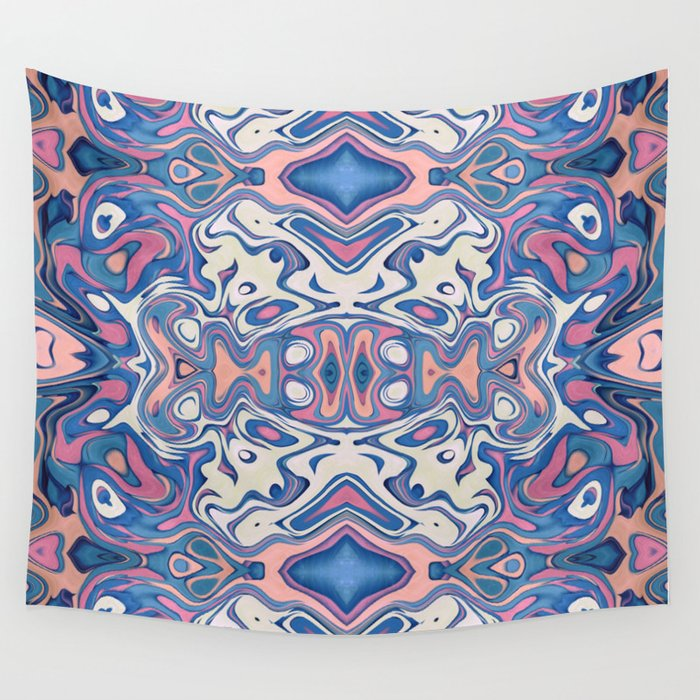 Colorful Chaotic Layers Wall Tapestry