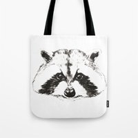 racoon Tote Bags featuring racoon by eclecticliving