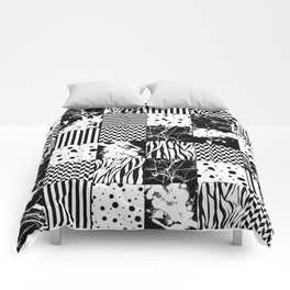 Eclectic Black and White Squares Comforters