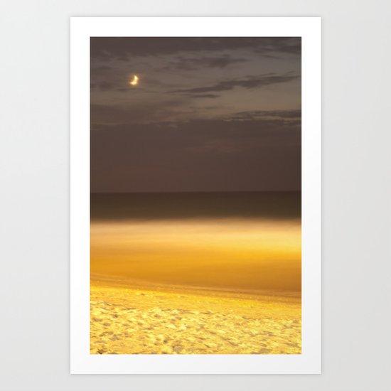 Moon over seaing Art Print