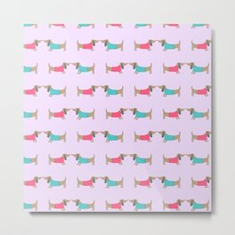 Cute dog lovers in pink background Metal Print