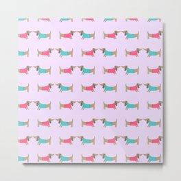 Cute dog lovers in pink background Metal Print