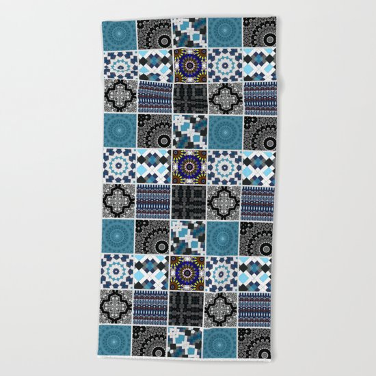 Patchwork . Blue , black and grey . Beach Towel