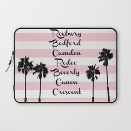 Beverly Hills Street Names Palm Trees Pink Stripes Laptop Sleeve