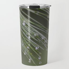 Raindrops on Pine Tree Macro Nature Photography - Anticipation Travel Mug