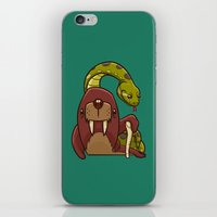 anaconda iPhone & iPod Skins featuring The Walrus and the Anaconda by Artistic Dyslexia