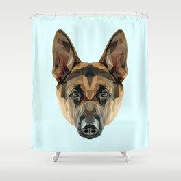 German Shepherd // Pastel Blue Shower Curtain